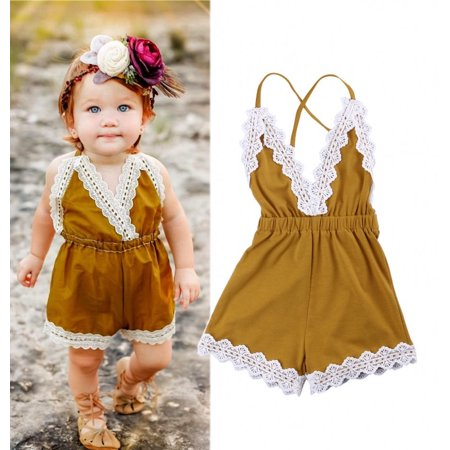 Newborn Kids Baby Girls Halter One-pieces V Neck Lace Backless Romper Jumpsuit Sunsuit Outfit Clothes 0-24M