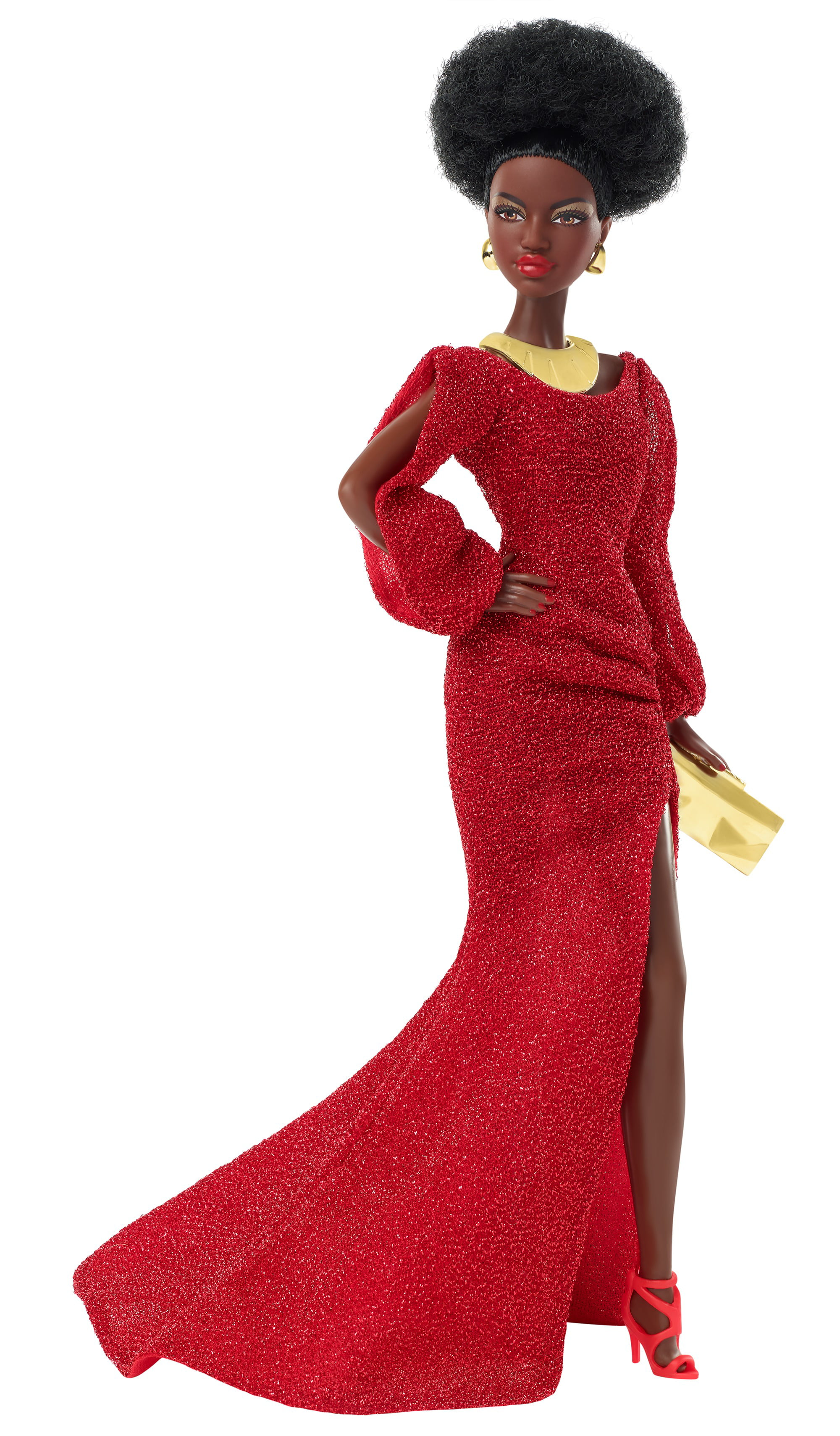 DRESS  DOLL 40TH ANNIVERSARY BLACK BARBIE RED SPARKLY TRUMPET EVENING GOWN