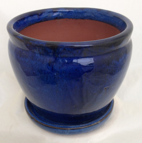 Fishbowl Glazed Ceramic Pot Saucer Blue 7 25 Quot X 6 25