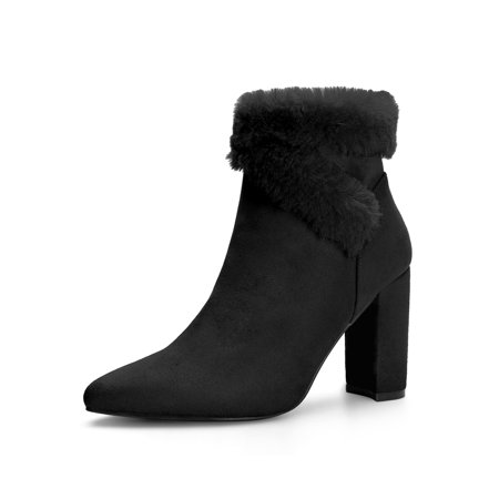 dfd80fd568 Unique Bargains - Women's Pointed Toe Chunky Heel Ankle Boots Black (Size  7) - Walmart.com
