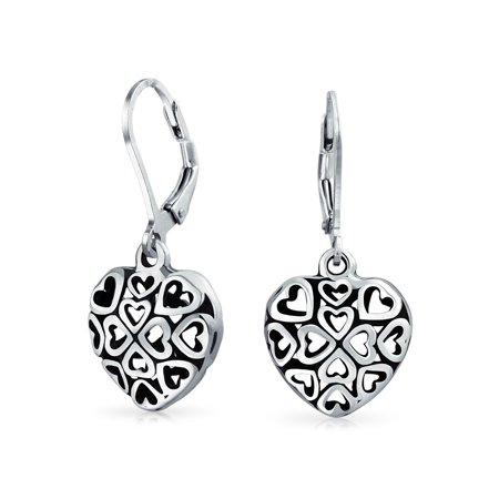 - Open Heart Shape Multi Filigree Hearts Leverback Dangle Earrings For Women Oxidized 925 Sterling Silver
