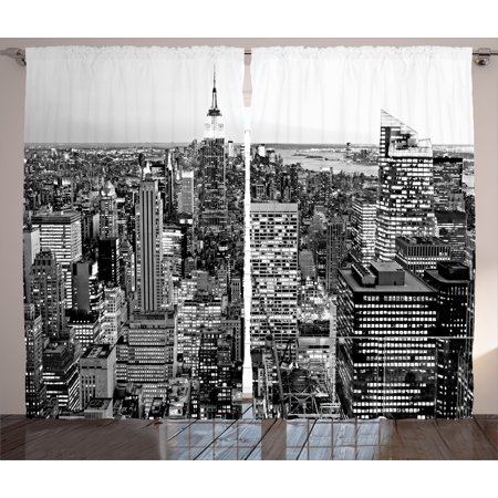 New York Curtains 2 Panels Set, Panorama of Manhattan High Buildings of City Famous Monument USA Black and White Photo, Window Drapes for Living Room Bedroom, 108W X 90L Inches, Grey, by Ambesonne ()