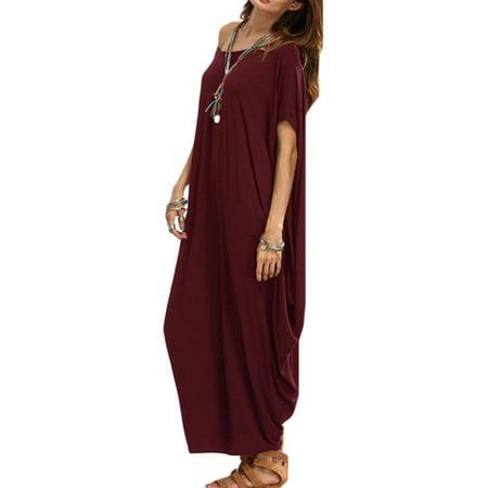 Women Vintage Batwing Sleeve Kaftan Beach Loose Maxi Dress