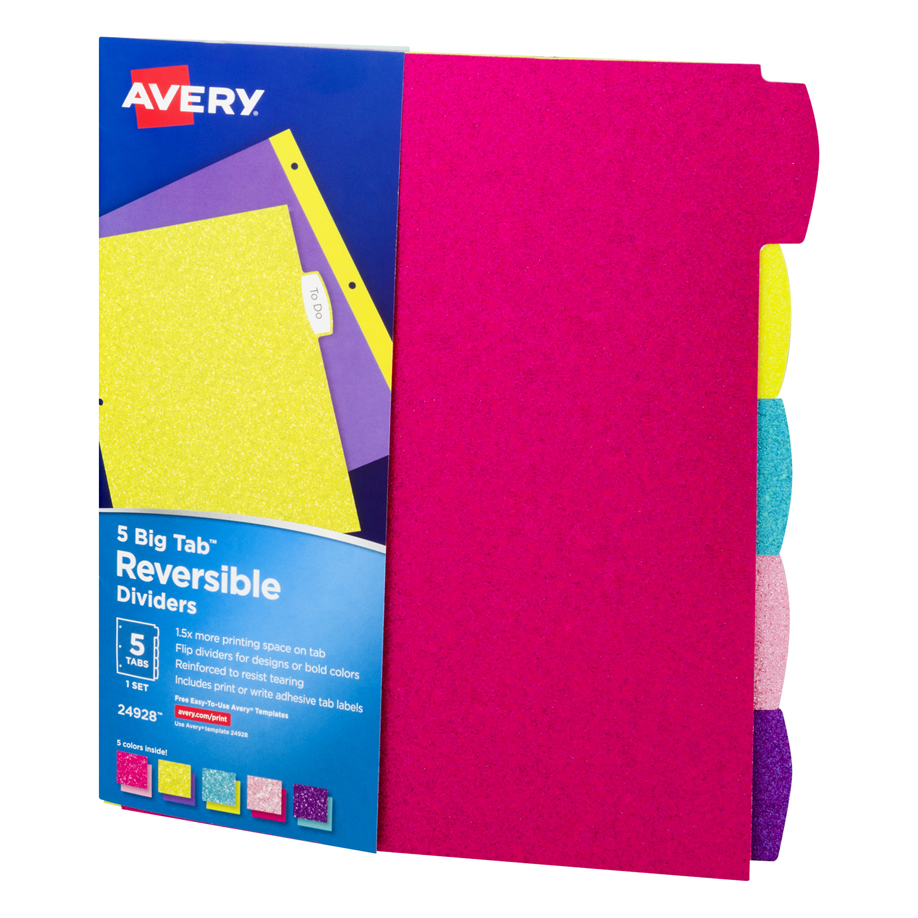 avery big tab reversible fashion dividers 5 tab set glitter assorted colors 24928 walmartcom