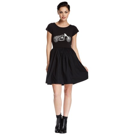 French Connection Martha Motorcycle Short Sleeve Jersey Dress Black - French Maids Dresses