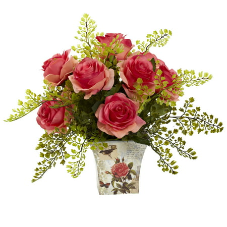 Nearly Natural Rose & Maiden Hair with Floral Planter Floral Collection Rose