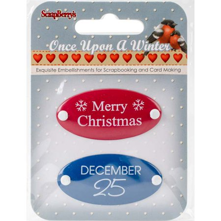 Scrapberry's Once Upon A Winter Metal Embellishments 2/Pkg-#3 Word (Embellishments Word Tiles)