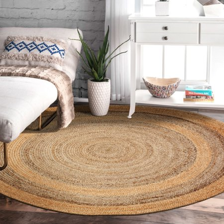 Lr Home Natural Jute Gray Round Indoor Area Rug 4 X