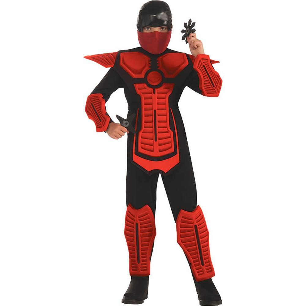 Red Ninja Molded Armor Jumpsuit Costume Child Medium 8-10