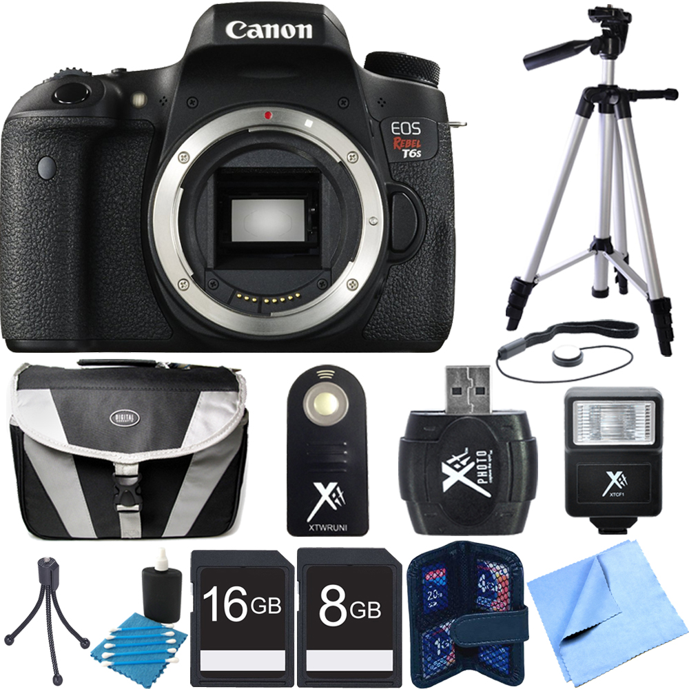 Canon EOS Rebel T6s Digital SLR Camera Body Deluxe Bundle includes Rebel T6s body, 16GB & 8GB Memory Card, Compact Gadget Bag, Memory Card Wallet, Mini Tripod, Full Size Tripod, Flash, Lens Cap Keepe