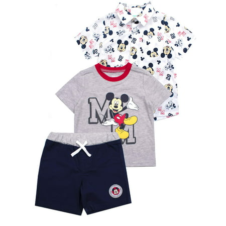 Button-up Top, T-shirt & Shorts, 3pc Outfit Set (Baby Boys)](Baby Boy Dress Up Clothes)