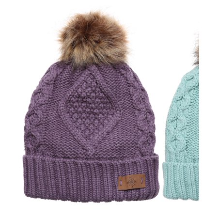 MIRMARU - MIRMARU Women s Winter Fleece Lined Cable Knitted Pom Pom Beanie  Hat. - Walmart.com d2c720535f2