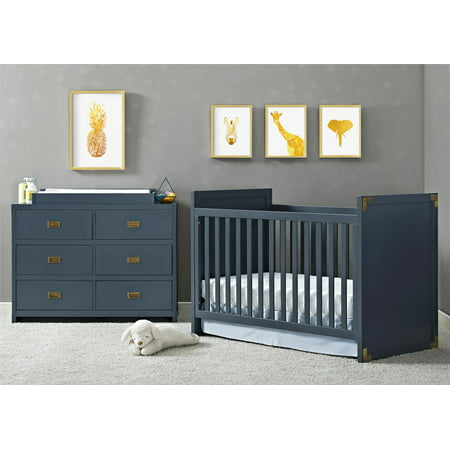 Baby Relax Miles 2-in-1 Convertible Crib for Nursery, Graphite Blue