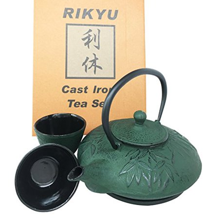 Japanese Evergreen Bamboo Forest Green Heavy Cast Iron Tea Pot Set With Trivet and Cups Set Serves 2 Beautifully Packaged in Teapot Gift Box Excellent Home Decor Asian Living Gift