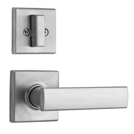 Door Handle Chrome Set - Kwikset 974 Vedani Hall Closet Passage Locking Door Handle Lever Set, Chrome