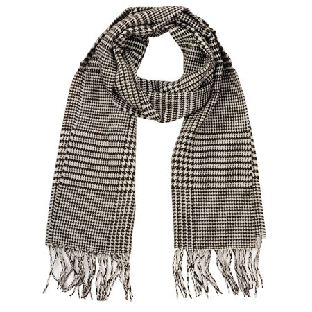 D&Y Unisex Classic Softer Than Cashmere Chevron Fringe End Scarf, Mini Houndstooth, Brown