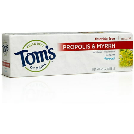 (2 pack) Tom's of Maine Propolis & Myrrh Toothpaste with Fluoride Fennel, 5.5 OZ ()
