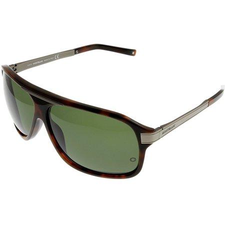 Mont Blanc Sunglasses Unisex Havana MB321S 52N Rectangular Size: Lens/ Bridge/ Temple: - Havana Temple