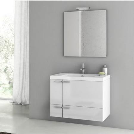 ACF by Nameeks ACF ANS02-GW New Space 31-in. Single Bathroom Vanity Set - Glossy White