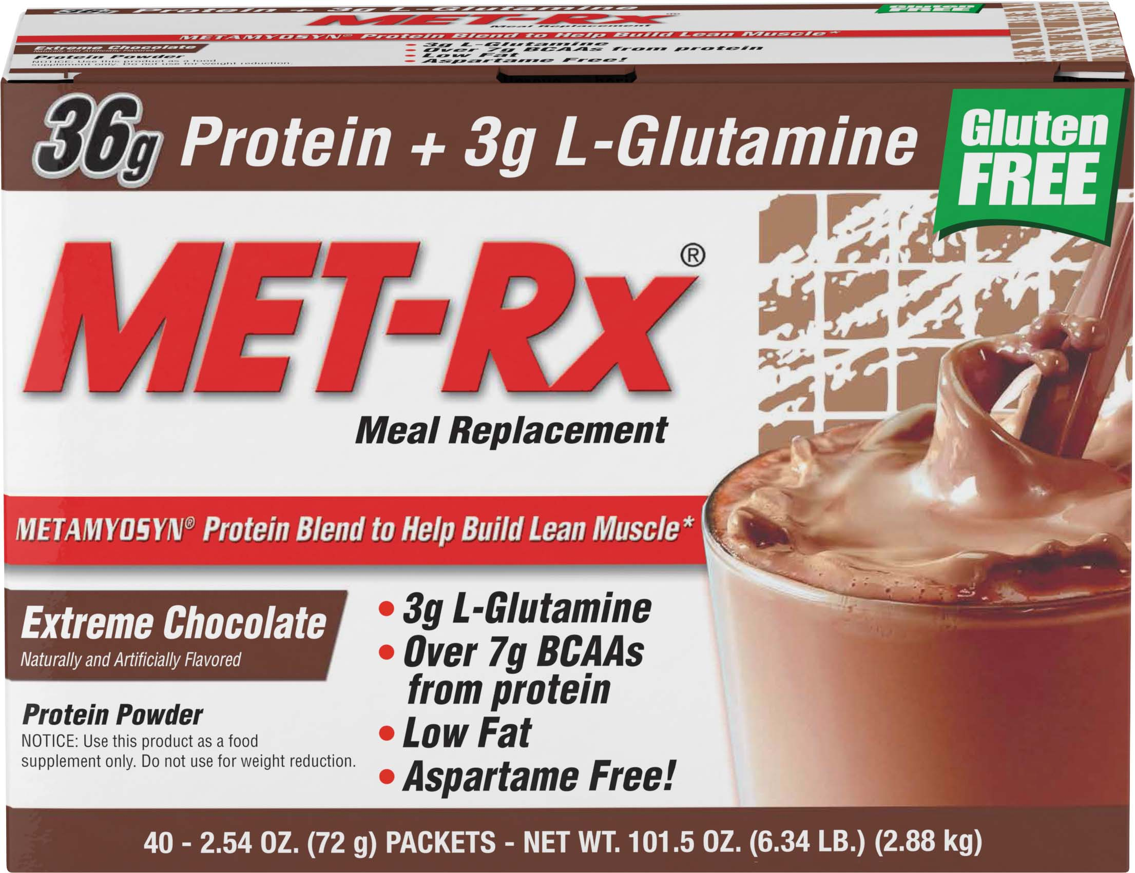 Met Rx Original Meal Replacement Protein Powder Extreme Chocolate 36g Protein 40 Packets Walmart Com Walmart Com