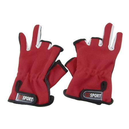 Unique bargains pair antislip rubber dot nylon fishing for Fishing gloves walmart