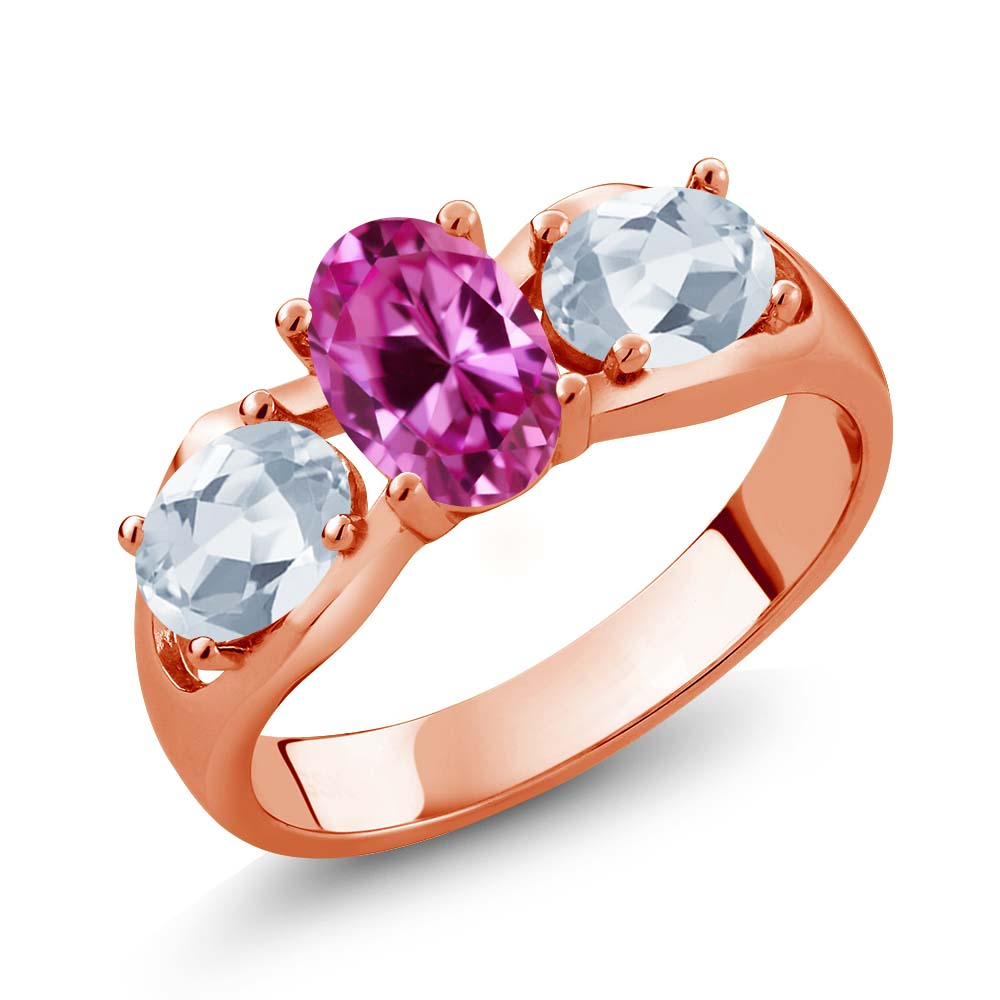 1.90 Ct Oval Pink Created Sapphire Sky Blue Topaz 18K Rose Gold Ring by