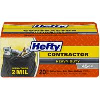 Hefty Heavy Duty Contractor Trash Bags, 45 Gallon, 20 Count