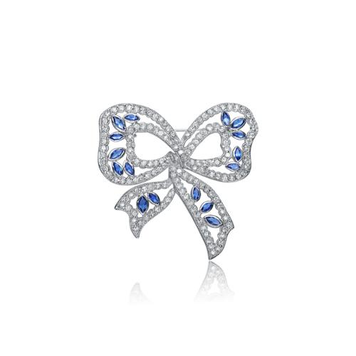 Collette Z Sterling Silver White and Blue Cubic Zirconia Pin by Overstock