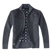 Gioberti Boy's Knitted Full Zip Cardigan Sweater with Soft Brushed Flannel Lining