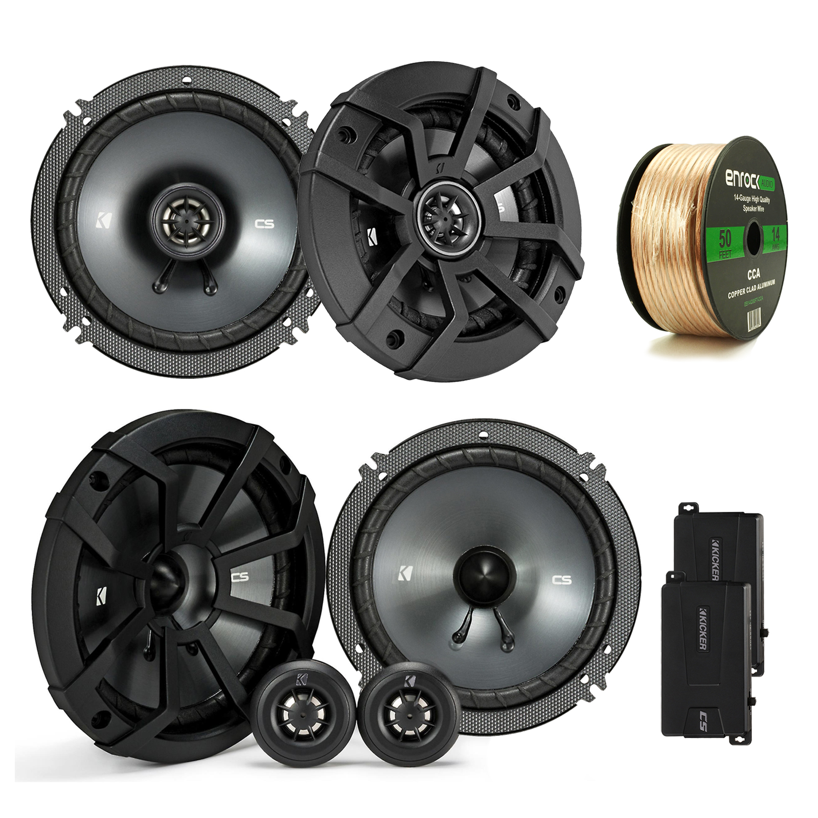 """Kicker 43CSS654 6.5"""" 4-Ohm Component Speakers System, and Kicker 43CSC654 600-Watt 6-1/2"""" CS Series 2-Way Black Car Coaxial Speakers, w/ Enrock Audio 14 AWG Gauge 50 Feet Speaker Wire Cable"""