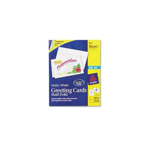 Inkjet-Compatible Greeting Cards with Envelopes, 5-1/2 x 8-1/2, 30/Box