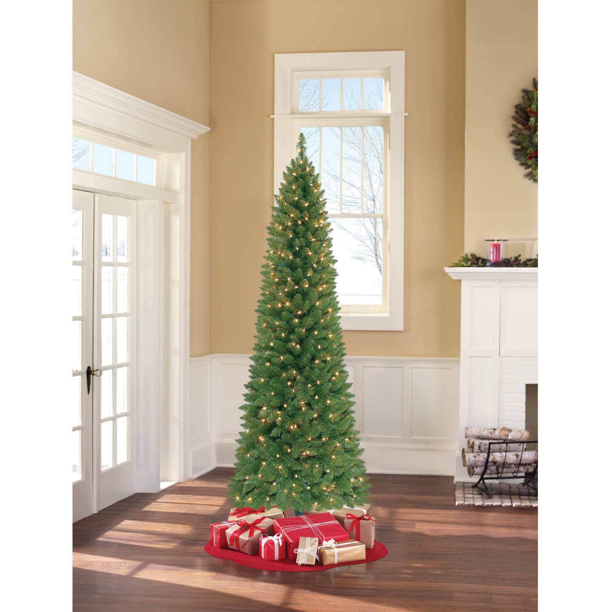 Holiday Time Pre-Lit Brinkley Pine Artificial Christmas Tree ...