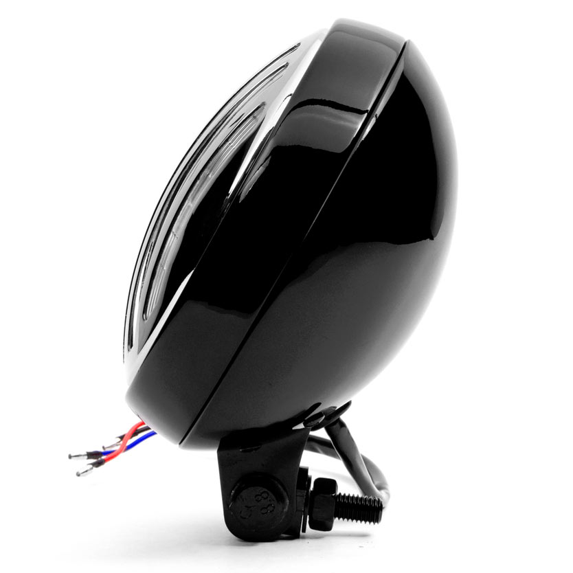 """Krator 6"""" Black & Chrome Motorcycle Headlight with Grill High Low Headlamp Bottom Mount - image 6 of 7"""