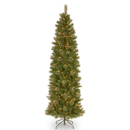 National Tree Pre-Lit 7-1/2' Tacoma Pine Pencil Slim Artificial Christmas Tree with 350 Clear Lights ()