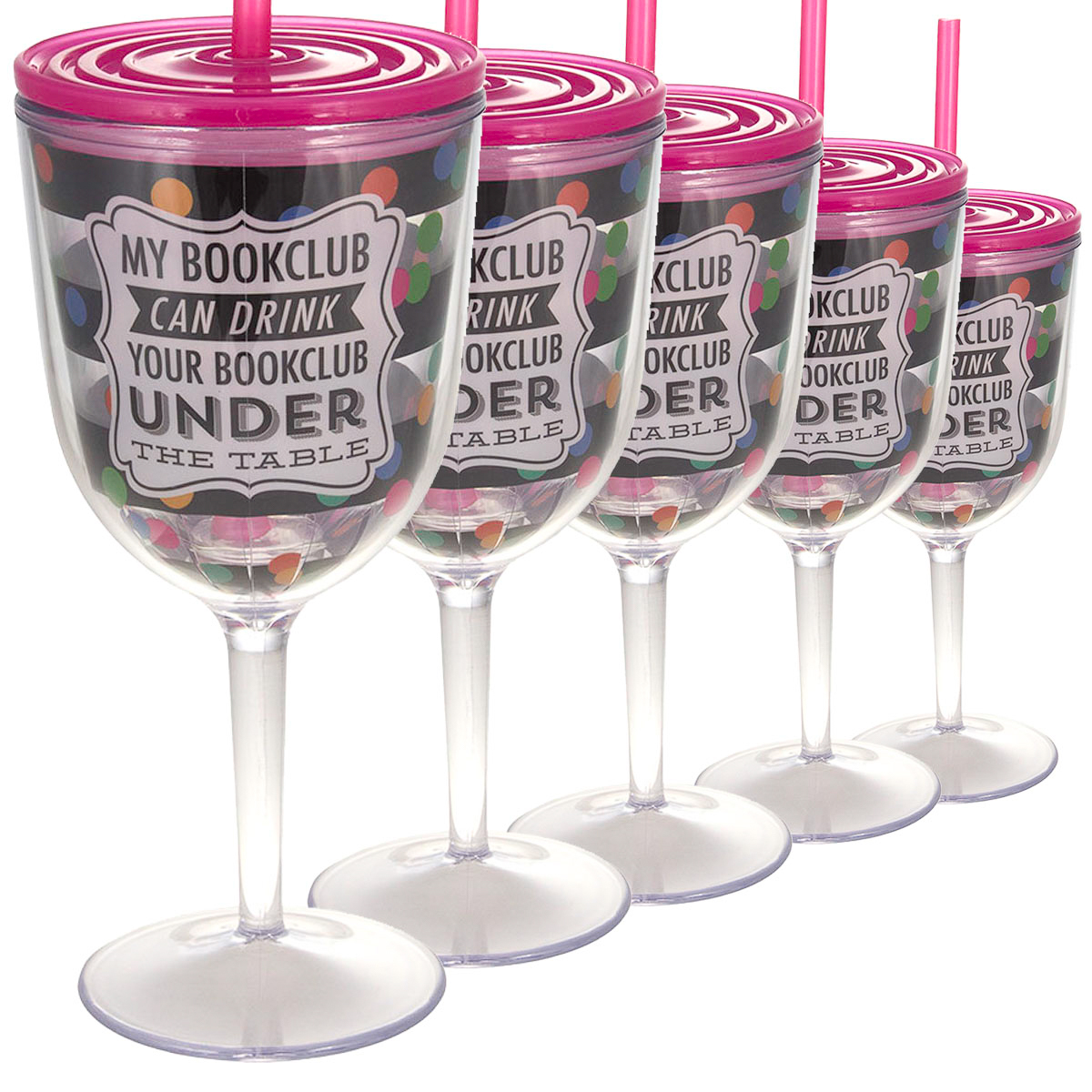 Set of 6 Wine Glasses 13oz With Lids & Straws Double Wall Insulated Funny Books Quote Reusable Acrylic