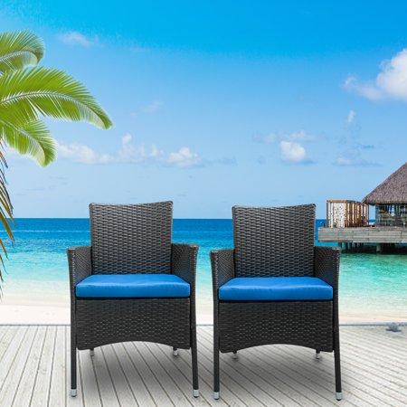 Top Knobs 2 Pcs Patio Chair Rattan Single Chair Set Outdoor Modern Wicker Rattan PE Furniture Sofa Set w/Cushions Black