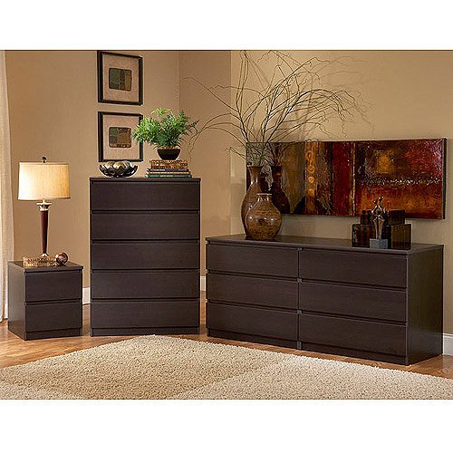 Laguna Double Dresser, 5-Drawer Chest and Nightstand Set, Lacquered Espresso