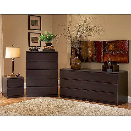 Laguna Double Dresser, 5-Drawer Chest And Nightstand Set