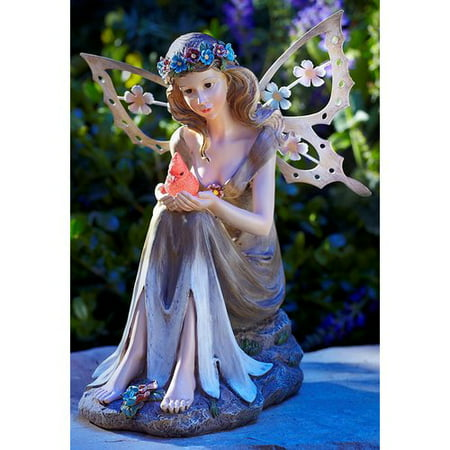 Moonrays 91351 Solar Powered Garden Fairy with Glowing Cardinal (Halloween Fairy Garden)