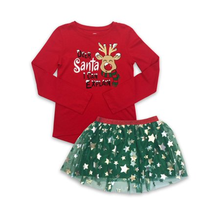 Holiday Christmas High Low T-Shirt & Mesh Tutu Skirt, 2-Piece Outfit Set (Little Girls, Big Girls & Girls' Plus) ()