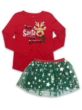 Holiday Christmas High Low T-Shirt & Mesh Tutu Skirt, 2-Piece Outfit Set (Little Girls, Big Girls & Girls' Plus)