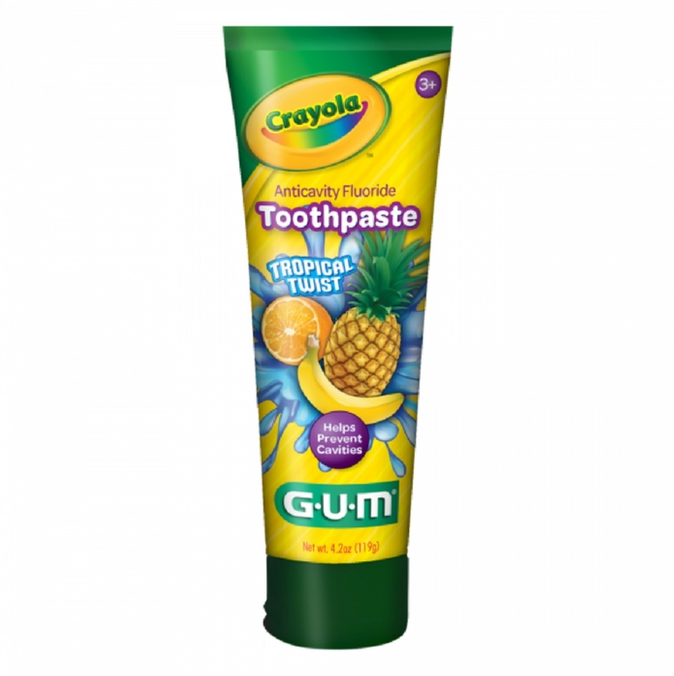 6 Pack - GUM Crayola Anticavity Flouride Toothpaste, Tropical Twist 4.2 oz