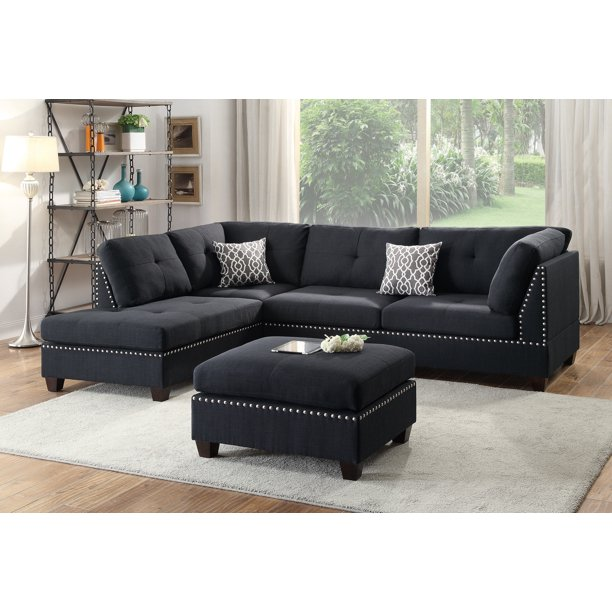 Bobkona Viola Linen-like Polyfabric Left or Right hand Chaise Sectional Set with Ottoman in Black