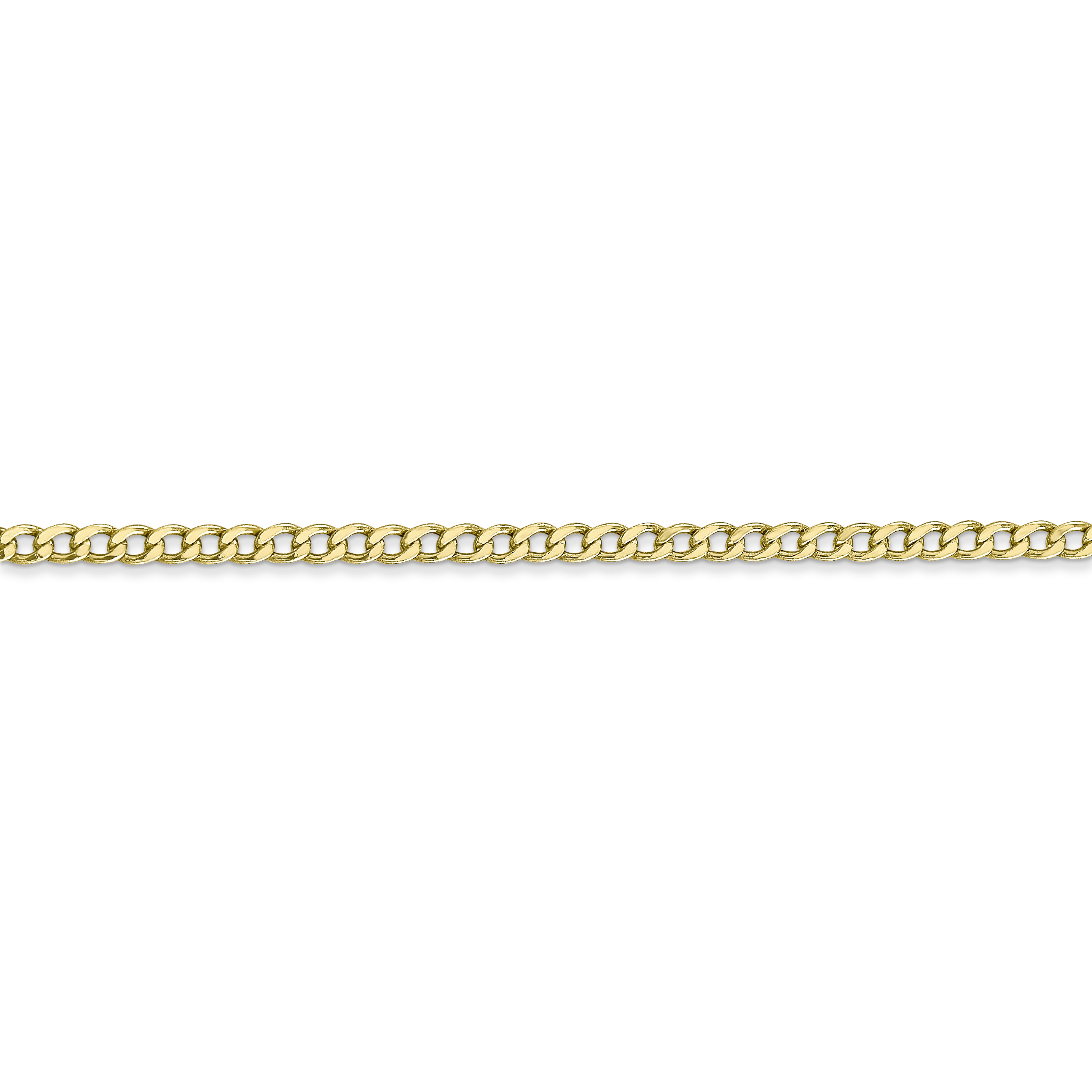 10K Yellow Gold 2.5mm Semi-Solid Curb Link Chain 24 IN - image 4 of 5