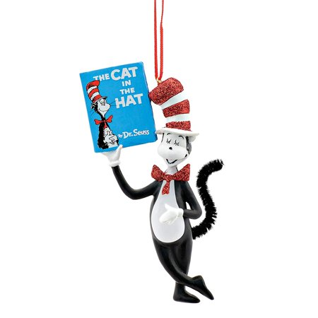 Dr. Seuss Cat in the Hat Holding Book Hanging Ornament, 4.33 inch, Department 56 has been creating seasonal memories for families since 1976 By Department 56,USA (Dr Seuss Christmas Decorations)