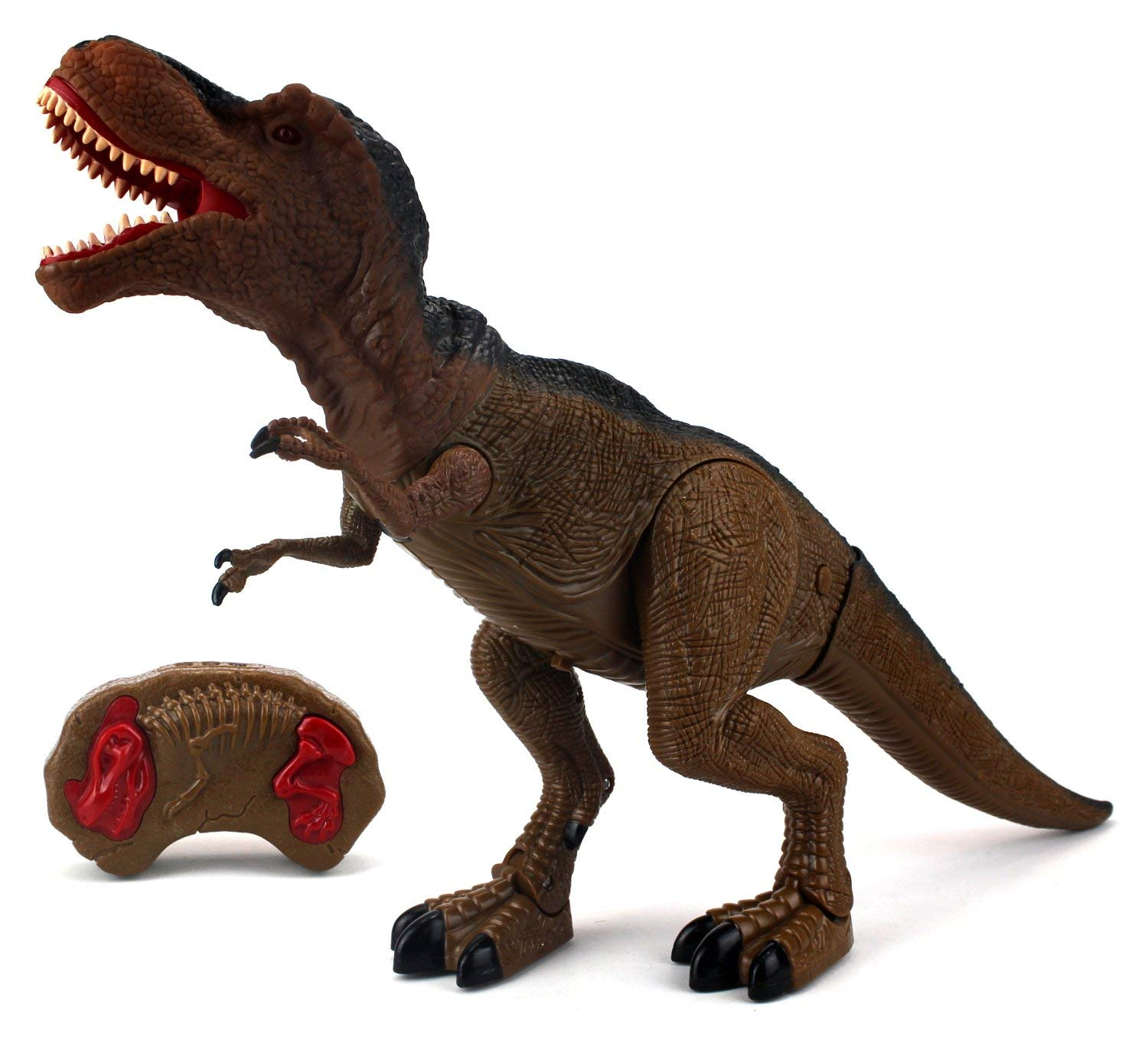 T-Rex Battery Operated Remote Control Walking Toy Dinosaur Figure w  Shaking Head, Walking Movement, Light Up... by Velocity Toys
