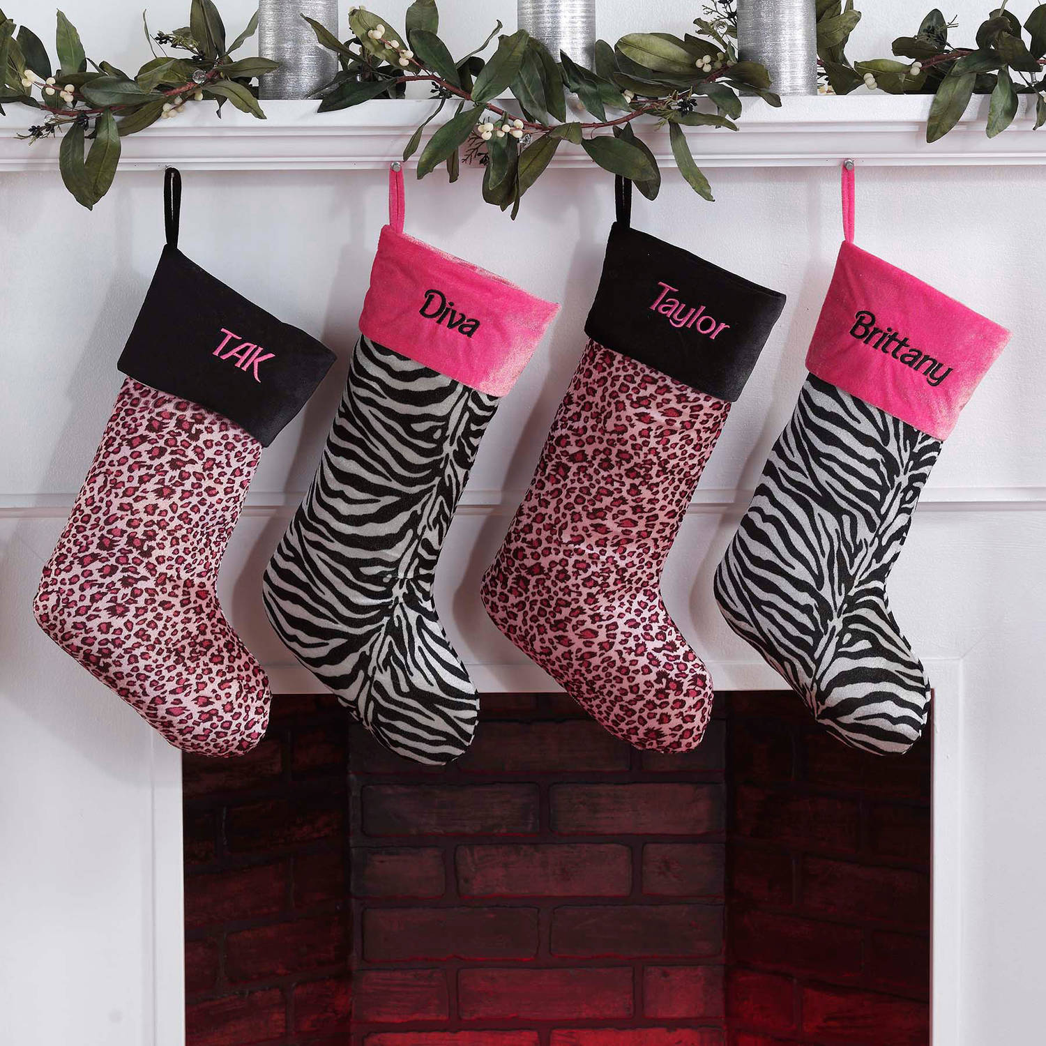 Personalized Animal Print Christmas Stocking, Available in Pink Leopard or Zebra
