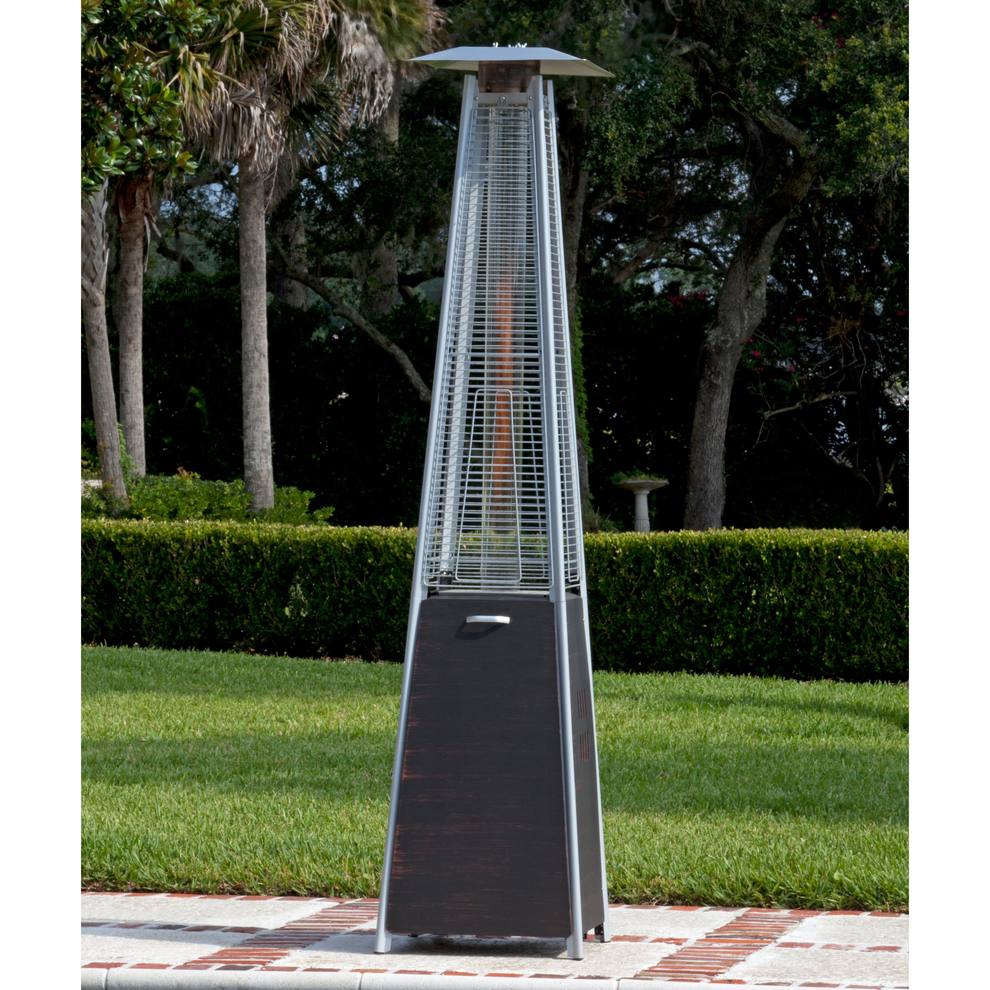 Fire Sense Coronado Brushed Bronze Pyramid Flame Patio Heater by Well Traveled Living