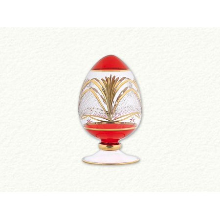 - Red Egyptian Blown Glass Decorative Egg with Gold Etched Pattern