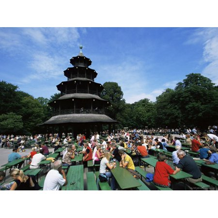 People Sitting at the Chinese Tower Beer Garden in the Englischer Garten, Munich, Bavaria, Germany Print Wall Art By Yadid Levy